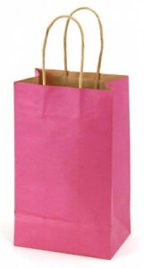 Case Of 100 Small Shocking Pink Kraft Shopping Bags 5 25 X 3 25 X 8 38
