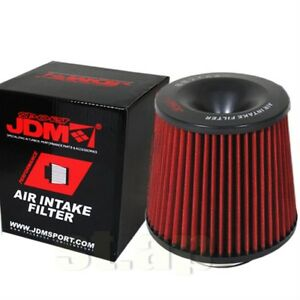Jdm 3 Performance Air Intake Filter Hp Gain High Flow Stainless Steel Black Red