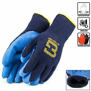 Blue Insulated Winter Rubber coated Gloves Crinkle Finished bgwlac blu