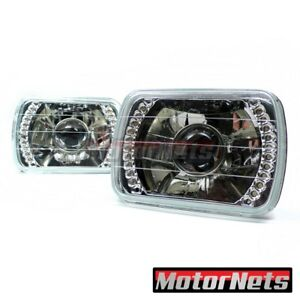 2x Blue Turn Signal Rectangle Projector Headlight Lamp H4 Led Jeep Yj 6x7 5x7