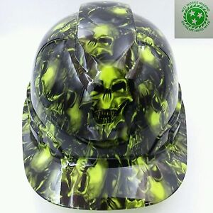 Hard Hat Custom Hydro Dipped Osha Approved Terminator Skulls Lime Green