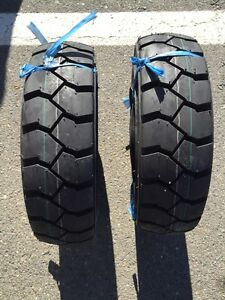 Two 5 00 8 500 8 Forklift Tire With Tubes Flap Grip Plus Heavy Duty