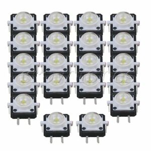 20 X White Tactile Push Button Switch 4 Pin With Led 12 X 12mm Safety