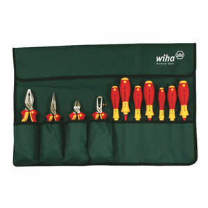 Wiha 32986 Insulated Industrial Pliers drivers Set In Roll Out Pouch 11 piece