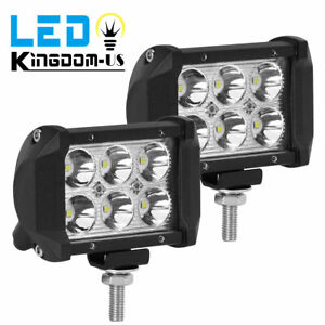 2x 4 18w Led Work Light 4wd Offroad Spot Fog Atv Suv Ute Driving Lamp For Jeep