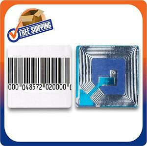 10000 Paper Security Labels 1 5x1 5 Inch Rf 8 2mhz Barcode Checkpoint Compatib