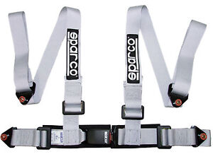 Sparco Racing Street 4 Point Bolt in 2 Seat Belt Harness silver