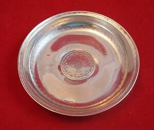 Antique 800 Silver Coin Dish Turkish 20 Kurush 1876 1293 Year 1