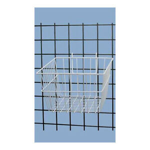 White Powder Coat Finish Mini grid Basket 12 l X 12 w X 8 d