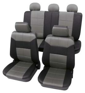 Premium Grey Black Leather Look Seat Cover Set For Mazda 3 2006 Onwards