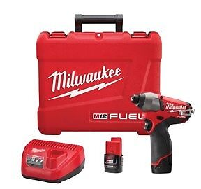 Milwaukee M12 Fuel 1 4 Hex Brushless Impact Wrench Kit W 2 Batteries 2453 22