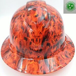 Hard Hat Custom Hydro Dipped Osha Approved Full Brim Hotter Than Hell Inferno