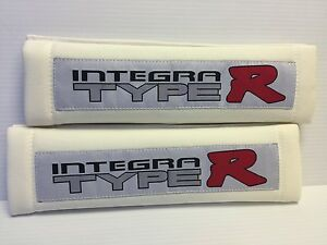 Integra Type R 2pc White Cloth Embroidery Car Seat Belt Shoulder Pads New Cute