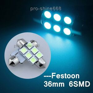 36mm 6 smd 100pcs 6418 6423 6451 6413 License Plate Lights Ice Blue Fit Ford
