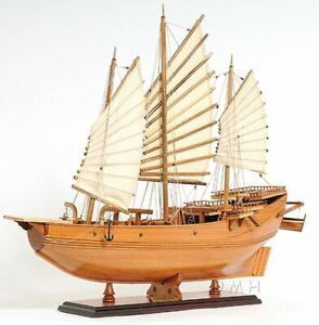 Chinese Junk Pirate Sailboat 27 Built Wooden Model Ship Assembled