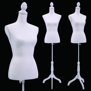 White Female Mannequin Torso Clothing Display W White Tripod Stand New