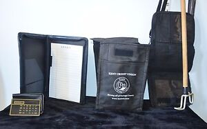 Lot Of 3 Office Supplies Note Pad Planner W calculator Vinyl Lunch Bag Pouch