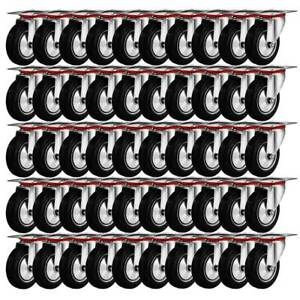 80 Pack 3 Swivel Caster Wheels Rubber Base With Top Plate Bearing Heavy Duty