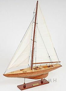 America S Cup Columbia 24 Sailboat Built Wooden Model Yacht Assembled