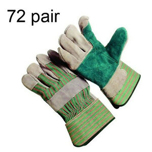 72 Pair 6 Dozen Double Reinforced Palm Split Leather Work Gloves Large Lg