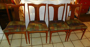 Set Of 4 Walnut Mid Century Dinette Chairs Sidechairs Dc36