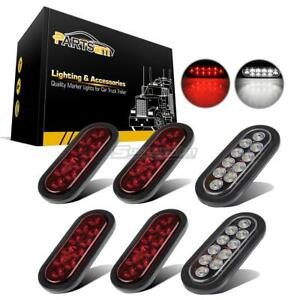 2xwhite 4xred 10 Diodes Oval W rubber Mount Led Stop Tail Turn Reverse Light 6