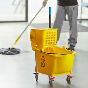 Janitorial Yellow 36 Quart Mop Bucket Wringer Combo