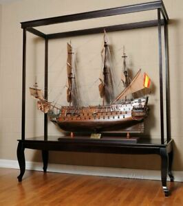 Large Wood Display Case 65 Cabinet Tall Ship Yacht Boat Models No Glass