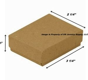 Wholesale 500 Kraft Cotton Fill Jewelry Packaging Gift Boxes 3 1 4 X 2 1 4 X 1