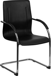 Black Vinyl Office Side Chair With Chrome Sled Base Office Guest Seating