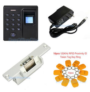 Fingerprint Rfid Id Card Reader Access Control System Kits Strike Door Lock