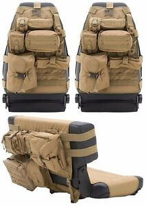 Smittybilt Tan Front Rear Seat Covers Pouches For 1976 2006 Jeep Cj Wrangler
