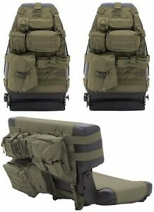 Smittybilt Od Green Front Rear Seat Covers Pouches For 76 06 Jeep Cj Wrangler
