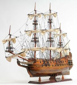 Hms Fairfax Royal Navy Tall Ship 35 Built Wooden Model Sailboat Assembled