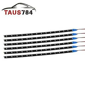 6pcs 12 30cm Blue Car Motor Truck Flexible Led Strip Light Bar Waterproof 12v