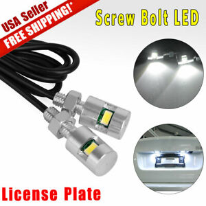 2 X White Led Universal Motorcycle Car License Plate Screw Bolt Light Lamp Bulb