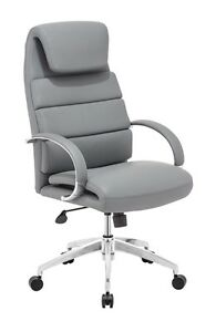 Modern Design High Back Executive Office Conference Chair In Gray Leatherette
