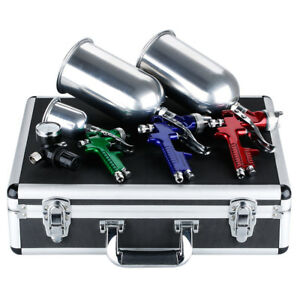 3 Color Hvlp Spray Gun Kit Gravity Feed Auto Car Painting Tools Gauge With Case