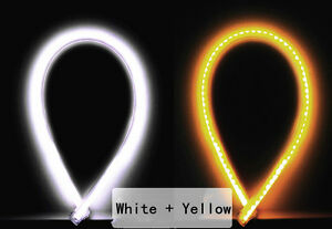 White Yellow 60cm Strip Light Flexible Led Turn Signal Car Drl Daytime Running
