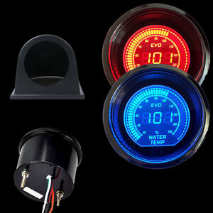 Car Blue red 52mm Digital Led Evo Water Temperature Temp Gauge black Pod