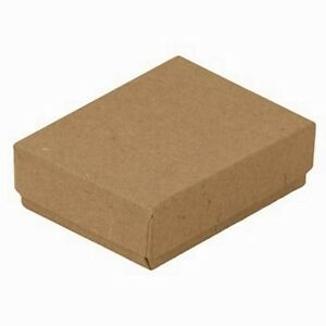 100 Kraft Brown Cotton Filled Jewelry Packaging Gift Boxes 3 1 4 X 2 1 4 X 1