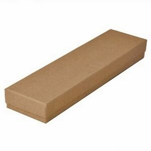 100 Kraft Brown Cotton Filled Jewelry Packaging Gift Boxes 8 X 2 X 1