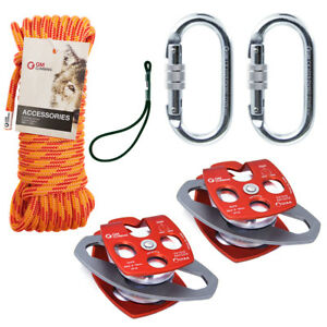 Block And Tackle Kit 7100lb Pulley With 11 5mm Double Braid Rope Rescue Hauling