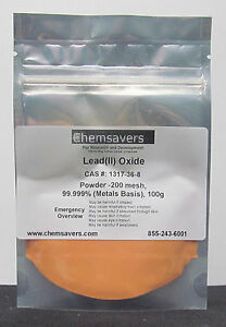 Lead ii Oxide Orange Powder 200 Mesh 99 999 metals Basis 100g