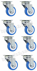 Lot Of 8 2 swivel caster polyurethane wheels base top plate double ball bearing