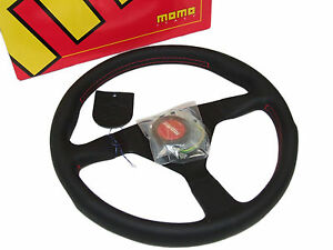 Momo Steering Wheel Monte Carlo 350mm Leather Red Stitch Horn Black Spoke