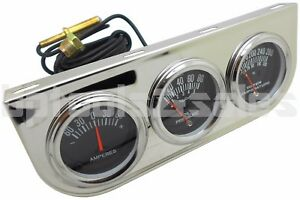 Universal 2 Chrome Triple Gauge Oil Pressure Water Voltage Volt Triple Gauges