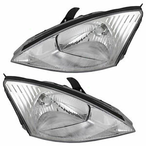 Fits For 2000 2001 2002 Ford Focus W Chrome Bezel Headlights Right Left
