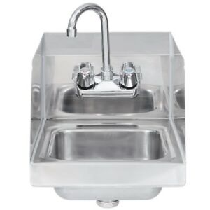 Commercial Stainless Steel Wall mount Hand Sink With Side Splashes 16 X 16