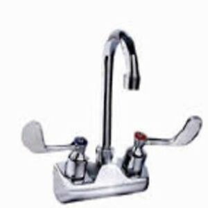 Commercial Stainless Steel Gooseneck Faucet 4 Center Wall mount Wrist Handle
